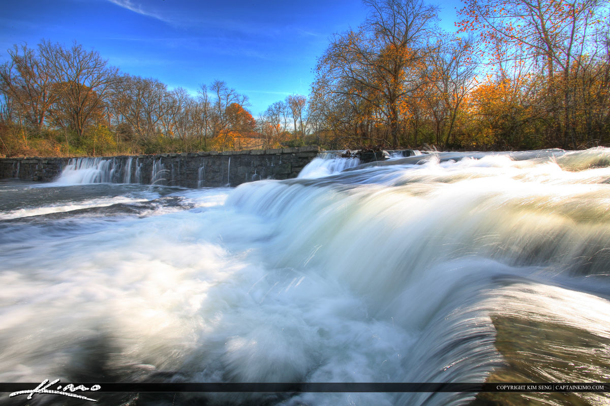 Stones River Murfreesboro Tennessee Rushing Waterfall at Dam