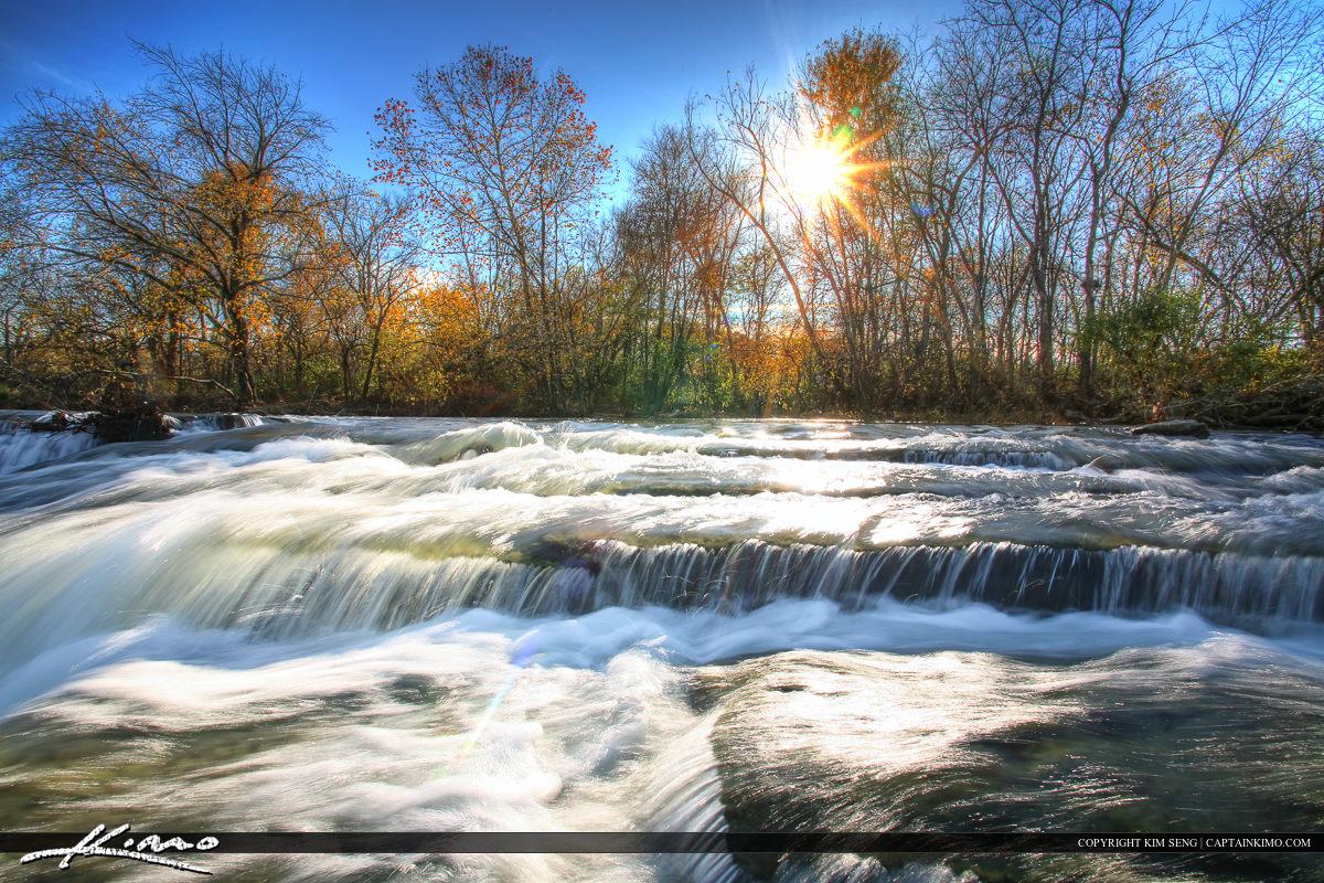 Stones River Murfreesboro Tennessee Sun behind Dam