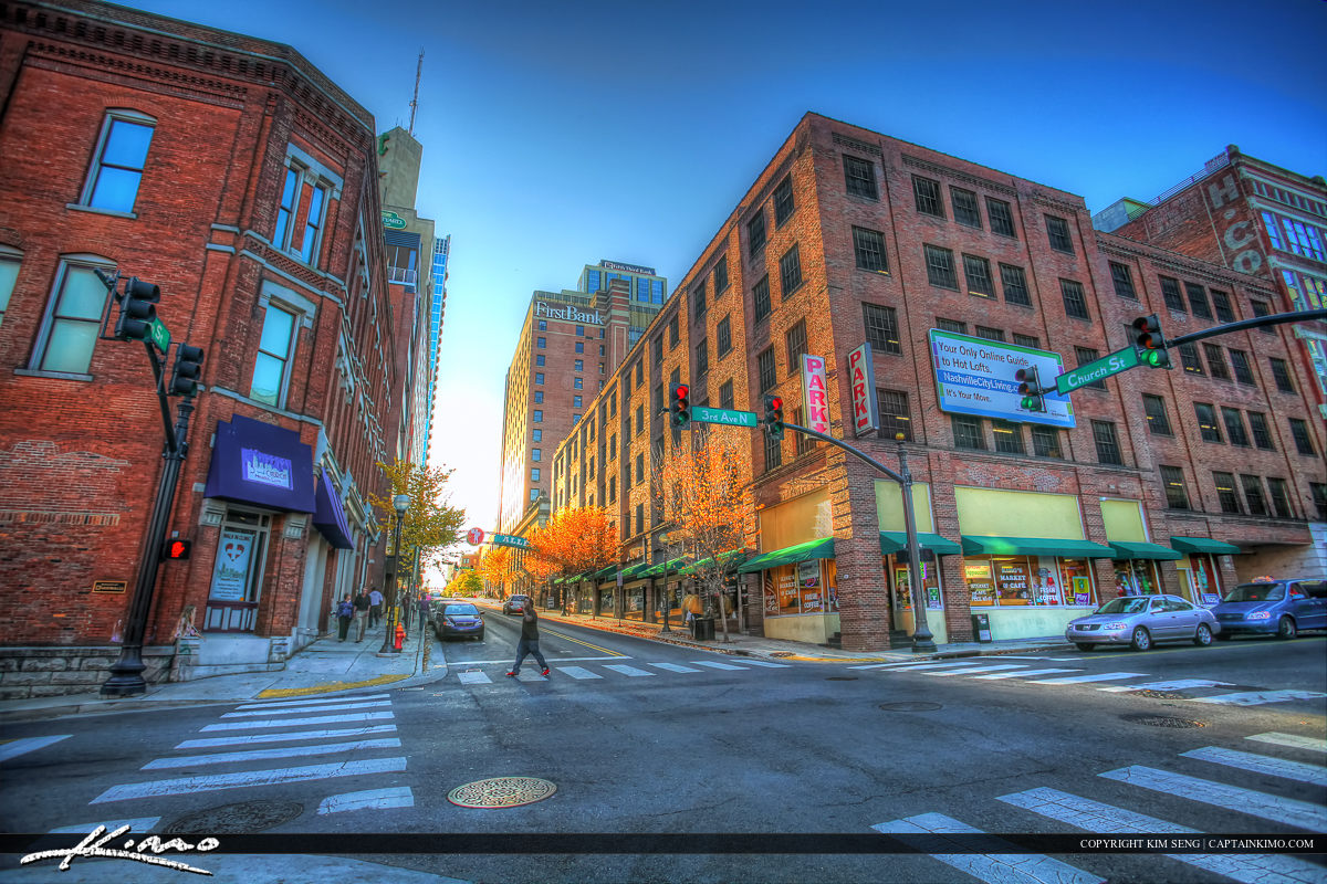 Nashville Tennessee City Downtown Walking the Street