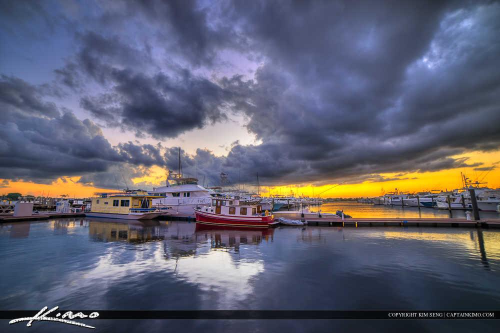 Sunset Marina Stuart Florida Docked Boats