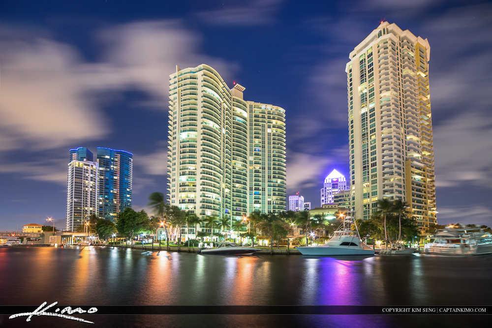Downtown Fort Lauderdale at Riverwalk along New River
