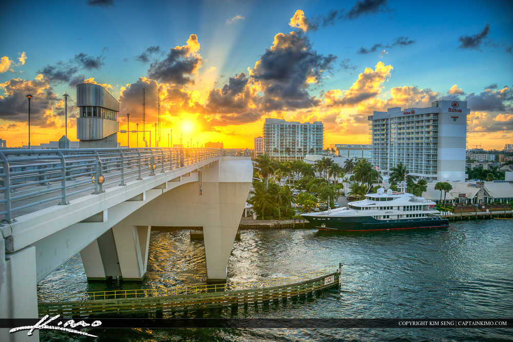 Fort Lauderdale Florida  Sunset at 17 Street Bridge