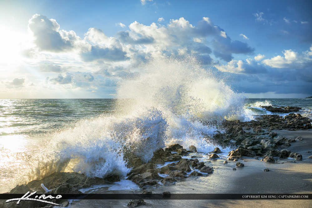 Shore Break on Rocks at Coral Cove Park