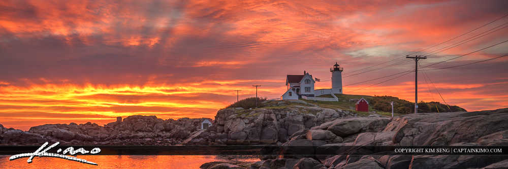 Nubble Lighthouse Cape Neddick Wide Panorama Maine Coast