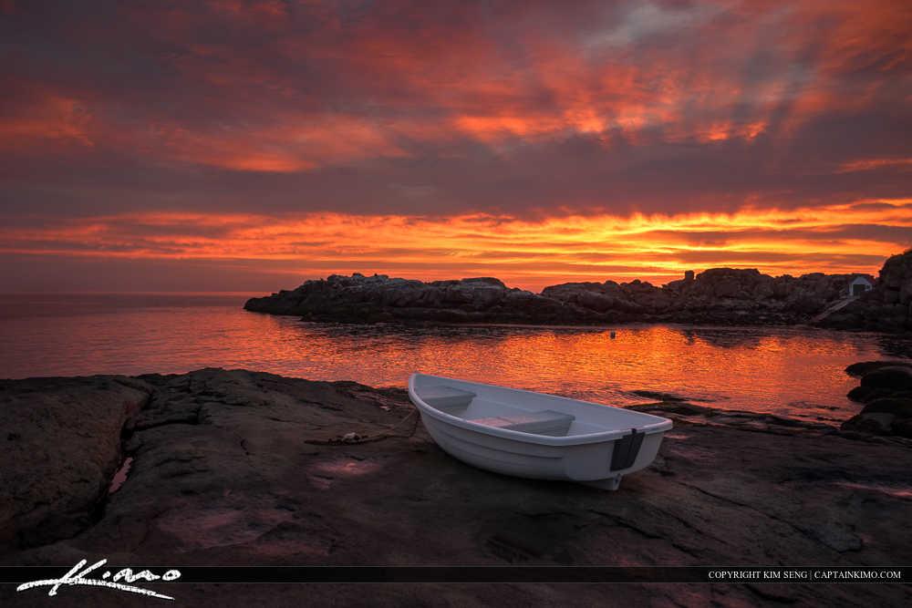 Boat at Cape Neddick Maine Red Sky Ocean Sunrise