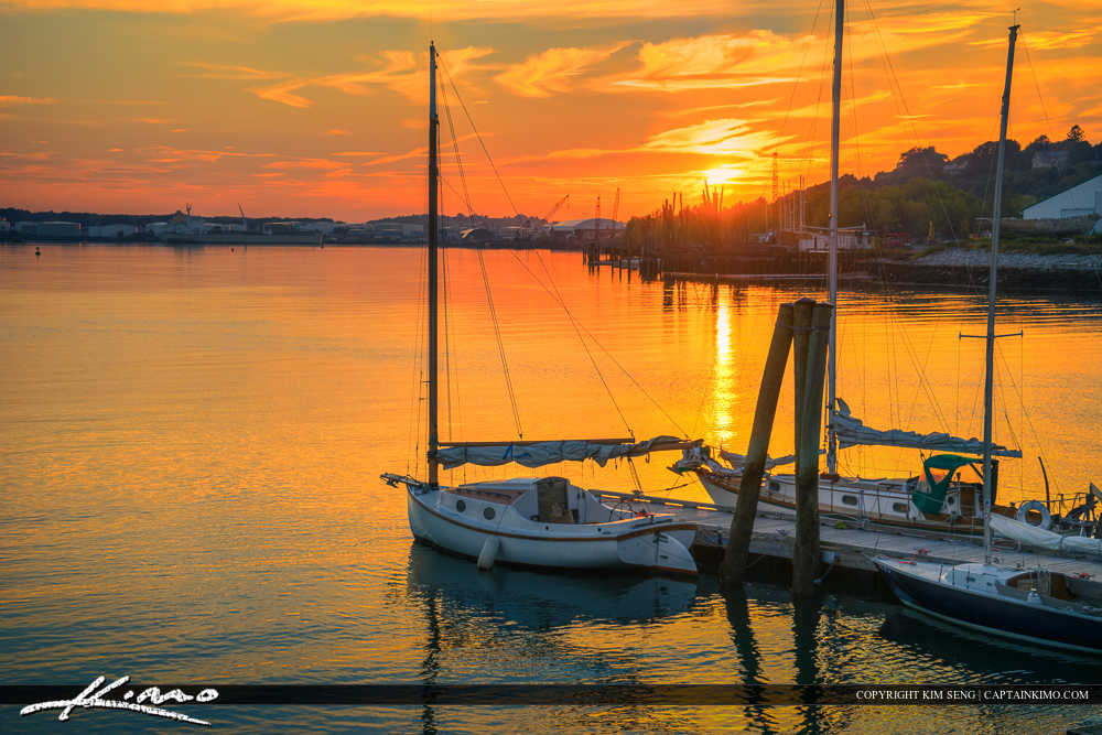 Sunset Over Portland Maine Harbor Casco Bay