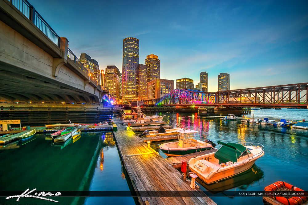 Boston Skyline at Boat Docks