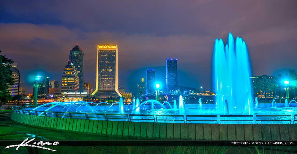 Jacksonville Florida Skyline at Friendship Fountain