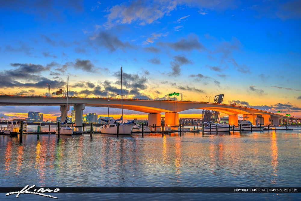 Jacksonville Florida Acosta Bridge Colors After Sunset