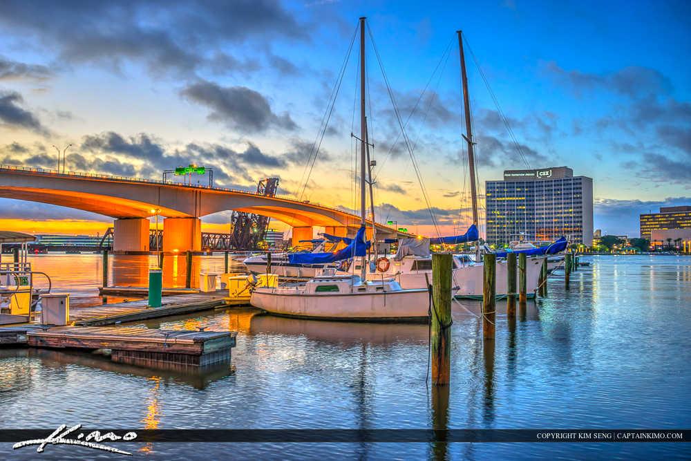 Jacksonville Florida Boats at Marina Acosta Bridge