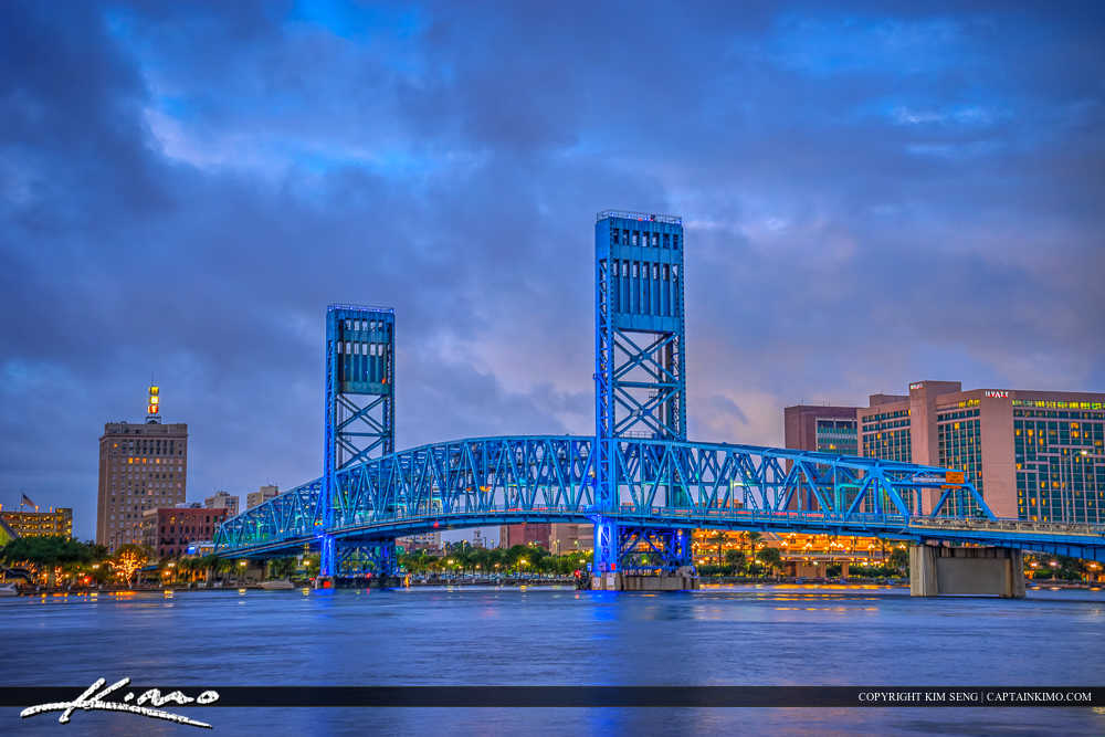 Jacksonville Skyline Florida Duval County Main Street Bridge Nig