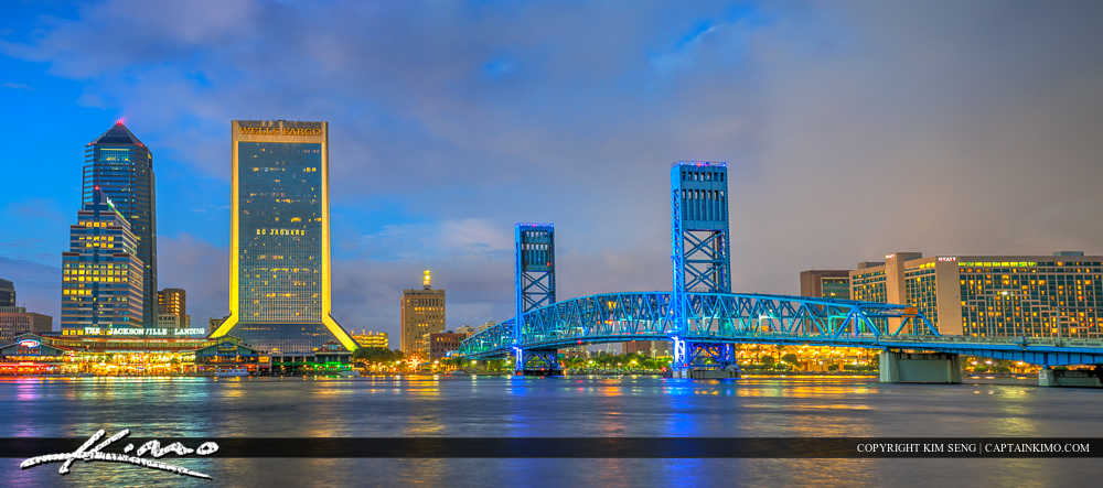 Jacksonville Skyline Florida Duval County Bridge to Downtown