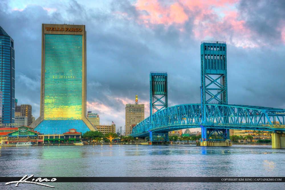 Jacksonville Skyline Florida Duval County Wells Fargo and Main S