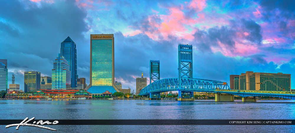 Jacksonville Skyline Florida Duval County Pano Wells Fargo Cente