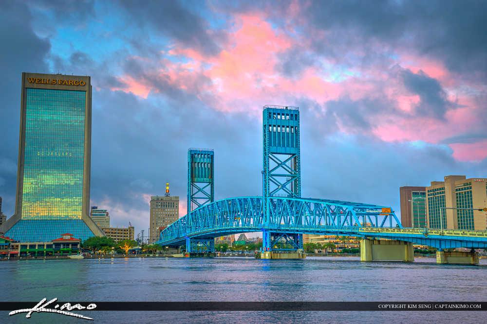 Jacksonville Skyline Florida Duval County Main Street Bridge