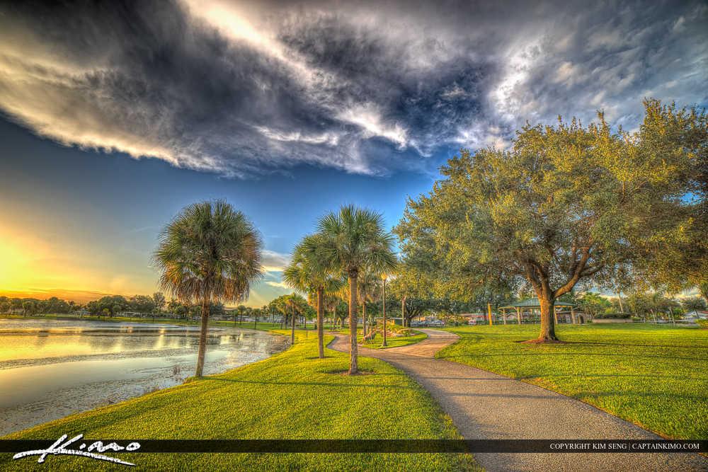 Royal Palm Beach Florida Sunset at Lake