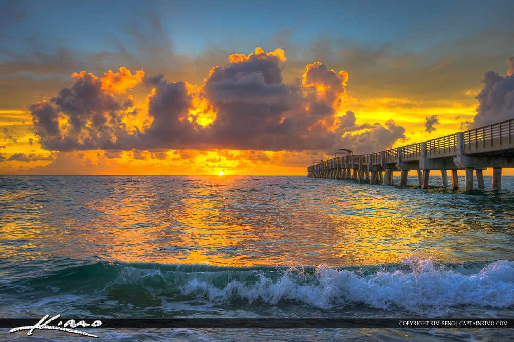 Lake Worth Beach Sunrise with Small Wave