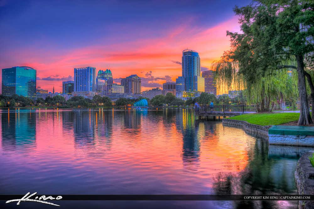 Orlando Lake Eola Florida Downtown Buildings