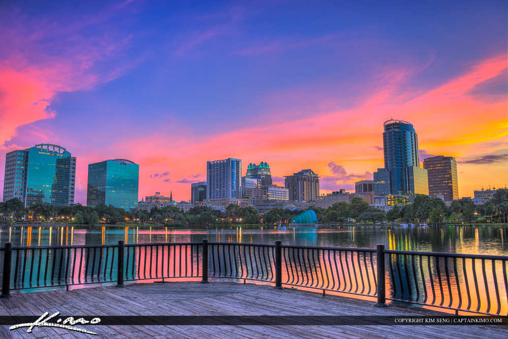 Orlando Lake Eola Florida Deck at Park