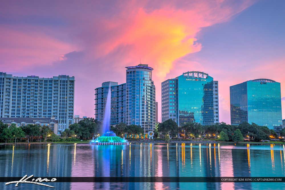 Orlando Lake Eola Florida City Skyline