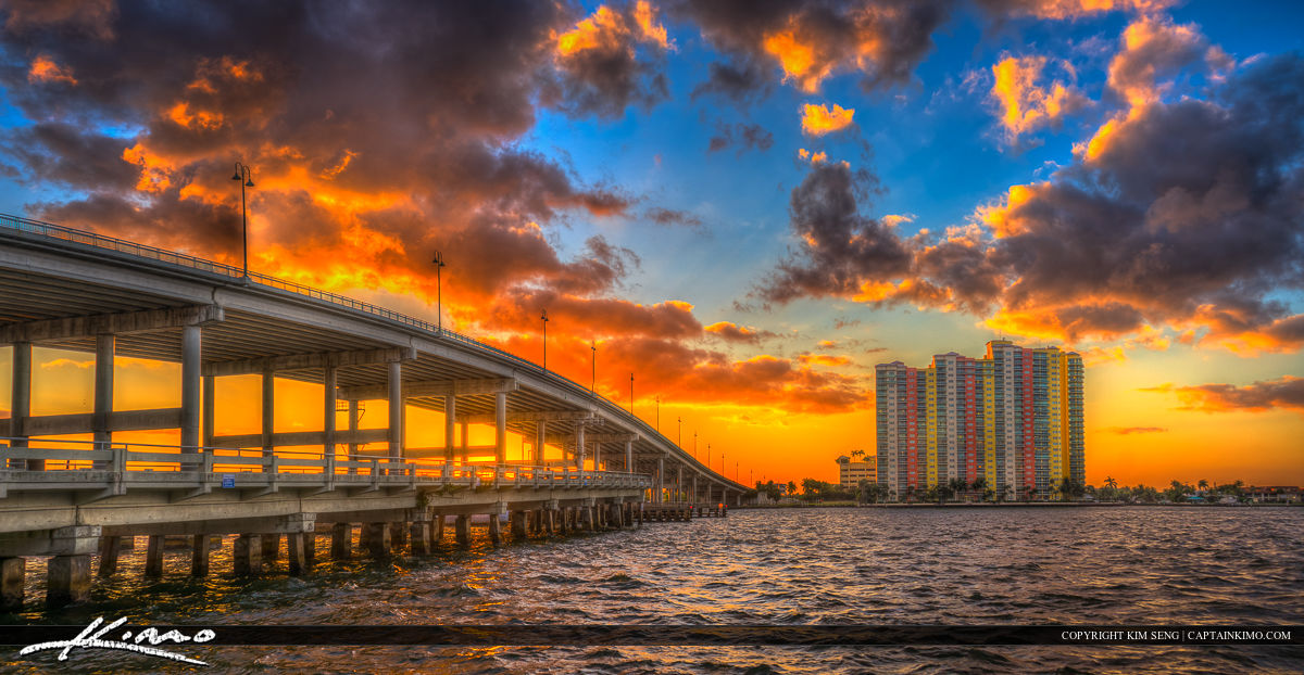 Riviera Beach Sunset Over Waterway Blue Heron Bridge Panorama