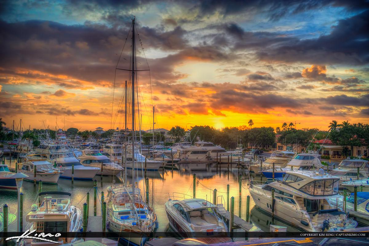 PGA Marina Sunrise at Boat Docks Over Palm Beach Gardens