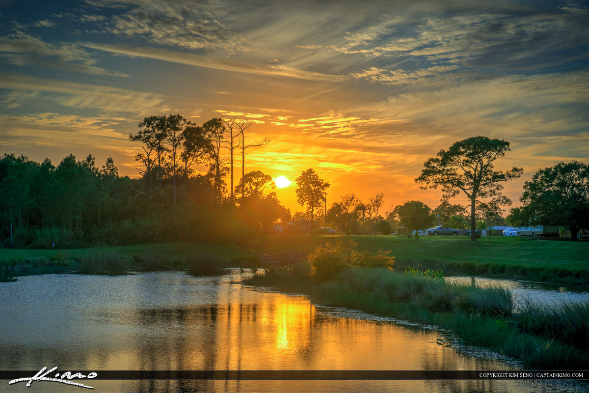 Stuart Florida Sunset at Park Over Lake in Martin County