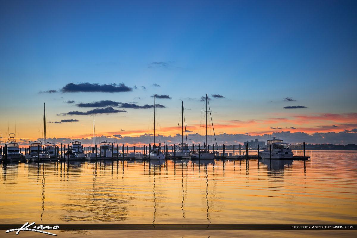 Roosevelt Bridge Mirror Reflection Stuart Florida Boats at Marin