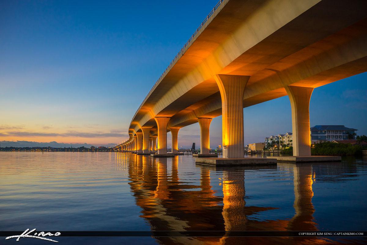 Roosevelt Bridge Mirror Reflection Stuart Florida Under Bridge