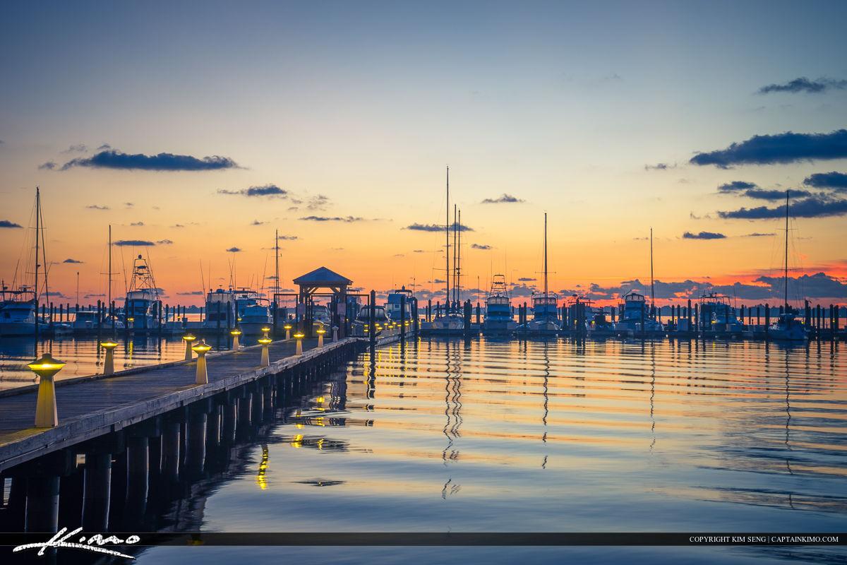Roosevelt Bridge Mirror Reflection Stuart Florida Marina Boats