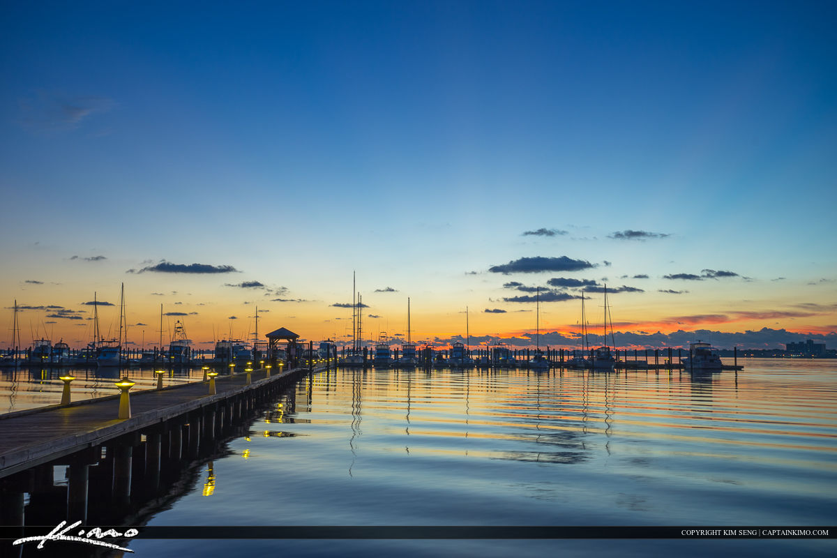 Roosevelt Bridge Mirror Reflection Stuart Florida at Marina
