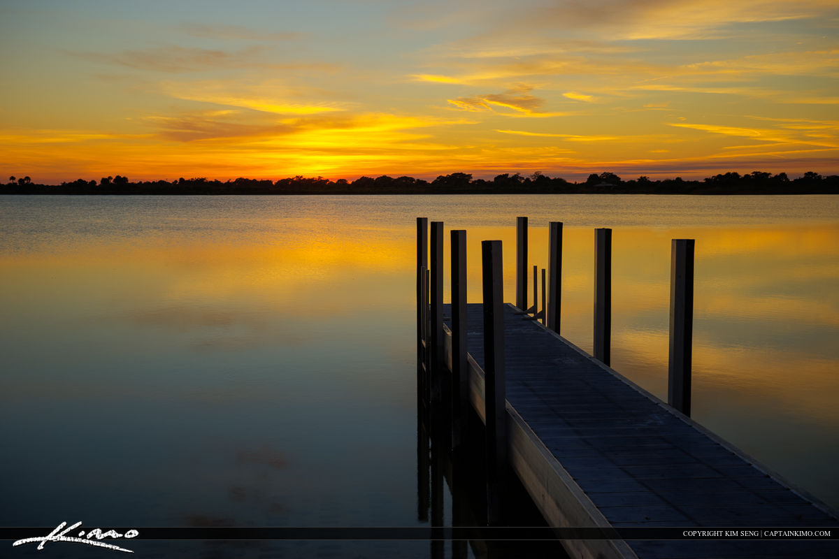 Boca Raton Sunset at Lake with Dock