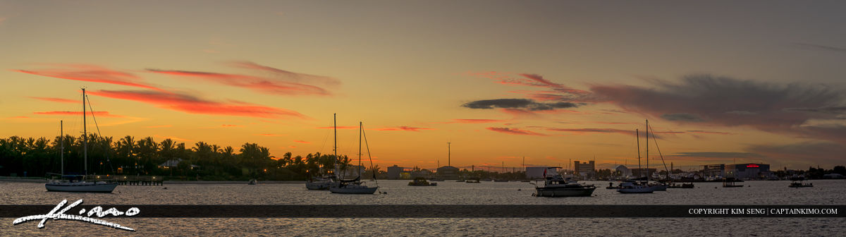 Boats Dock of Peanut Island during Sunset