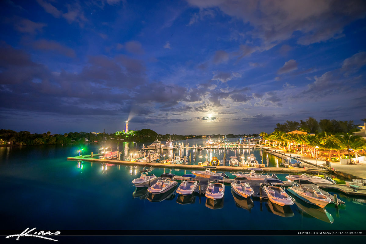 Moon Rise Over Jupiter Lighthouse at Marina