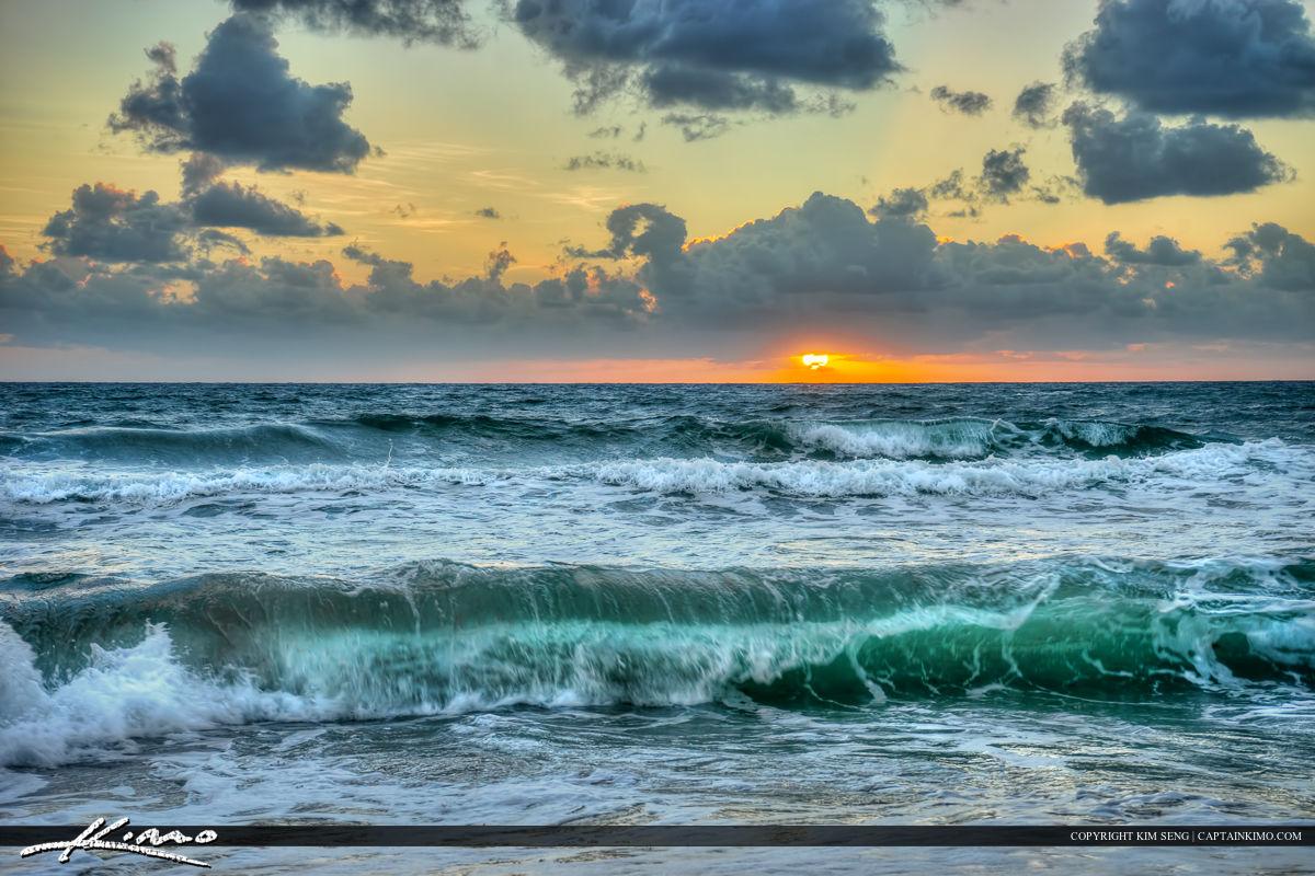 Boca Raton Beach Sunrise Wave Break