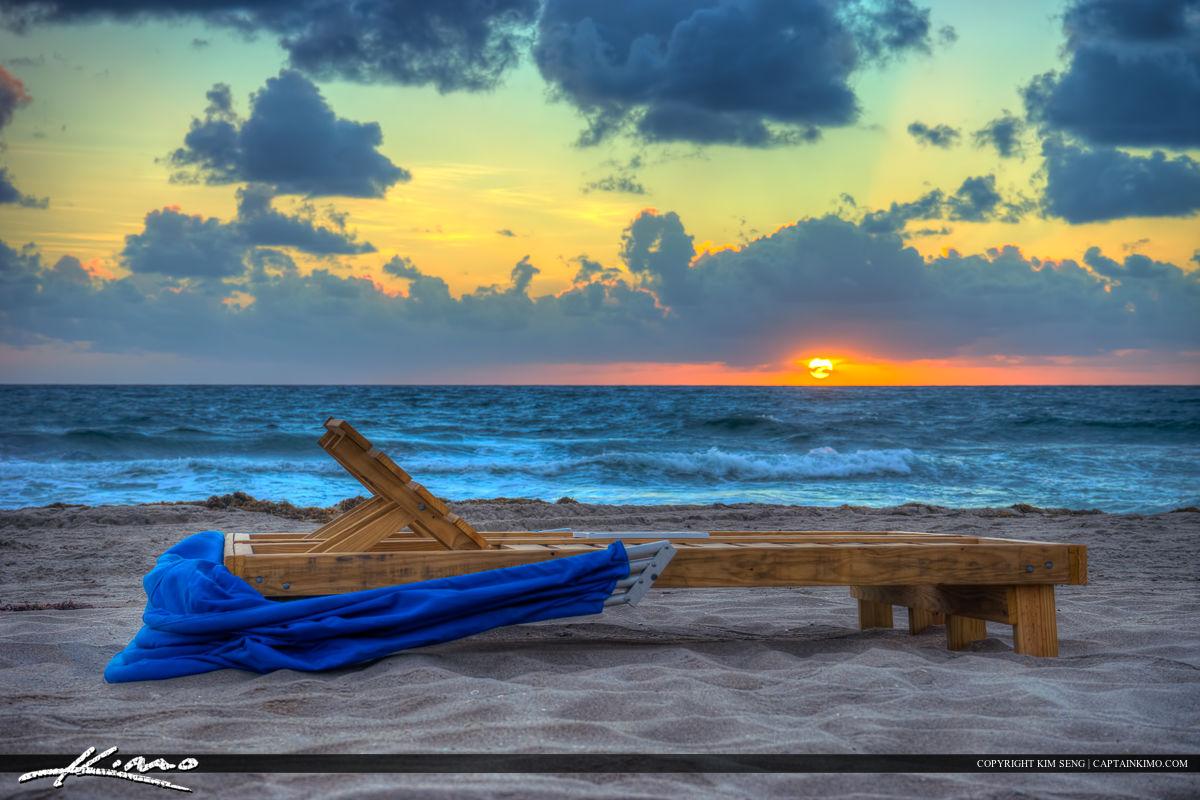 Boca Raton Beach Sunrise with Beach Chair