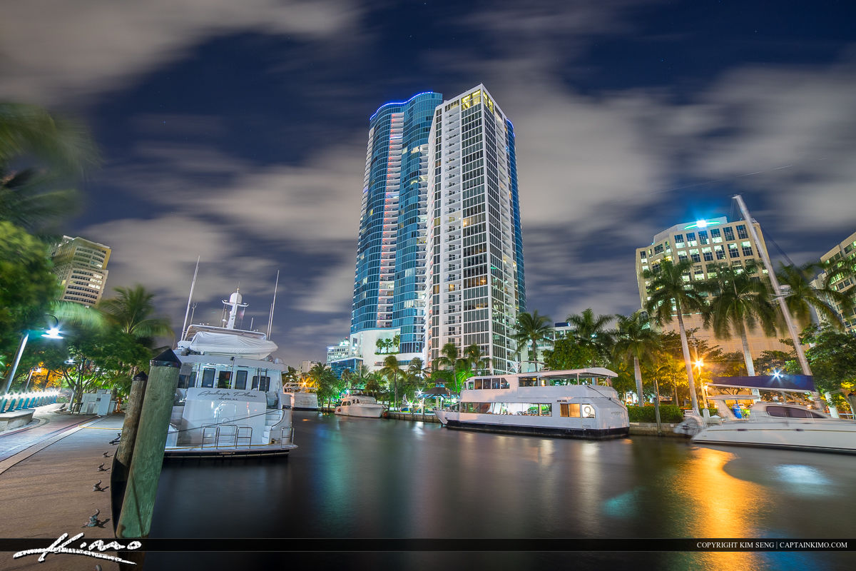 Fort Lauderdale Downtown City at New River Boats Dock Riverwalk