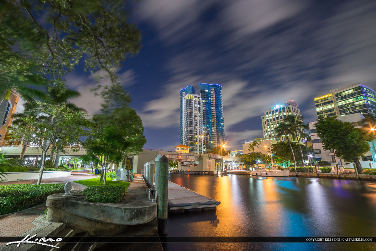 Fort Lauderdale Downtown City at New River along the Riverwalk