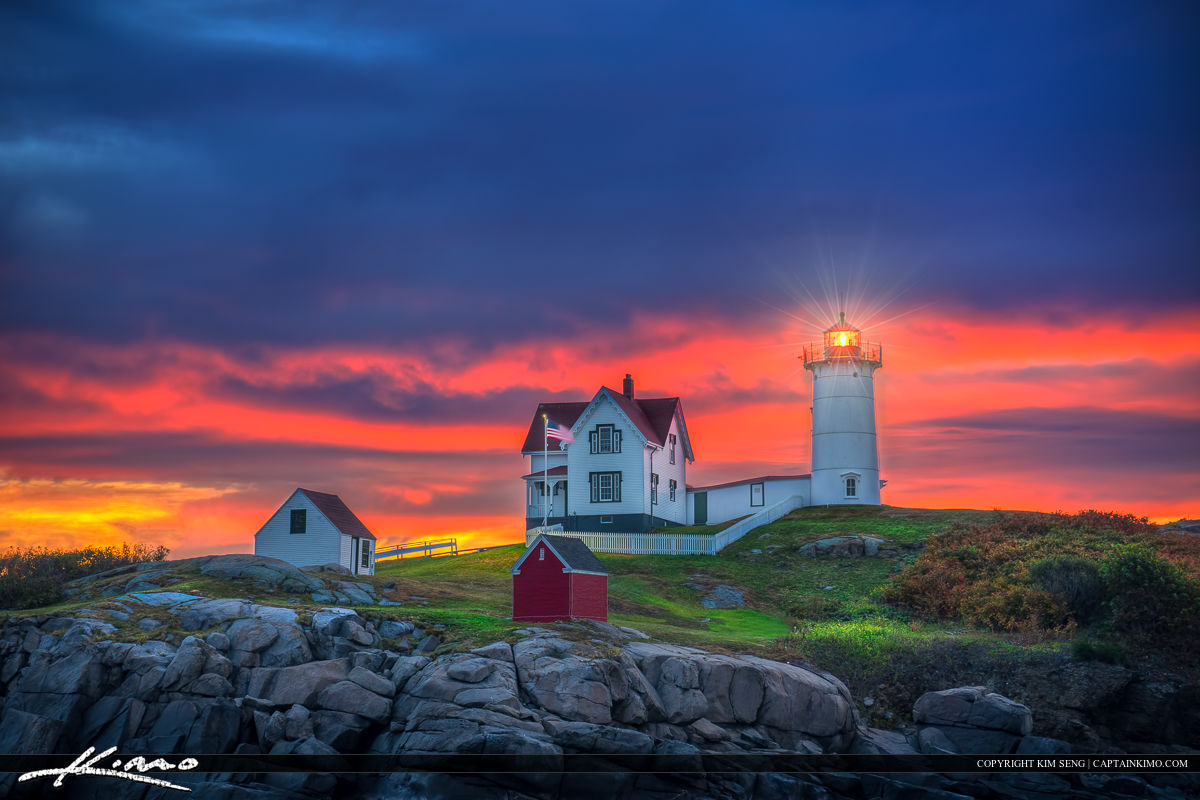 Colors at Dawn Nubble Lighthouse at Cape Neddick York Maine