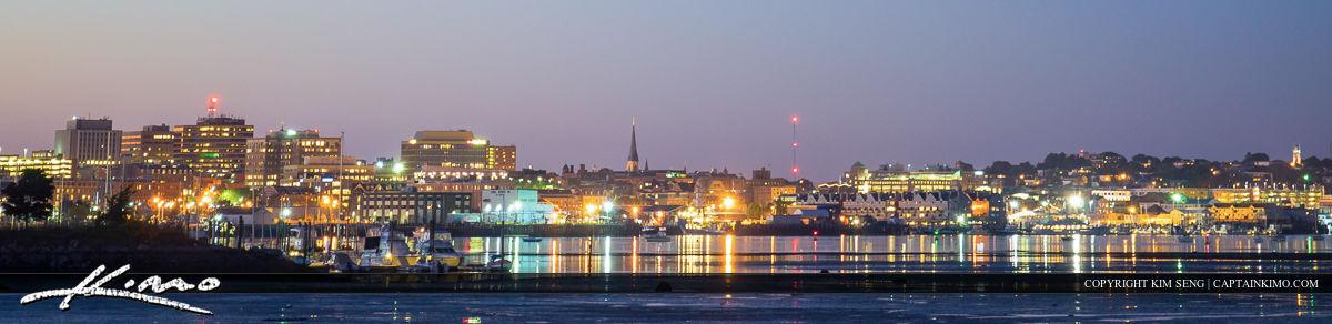 Portland Maine City Skyline Nighttime Panorama