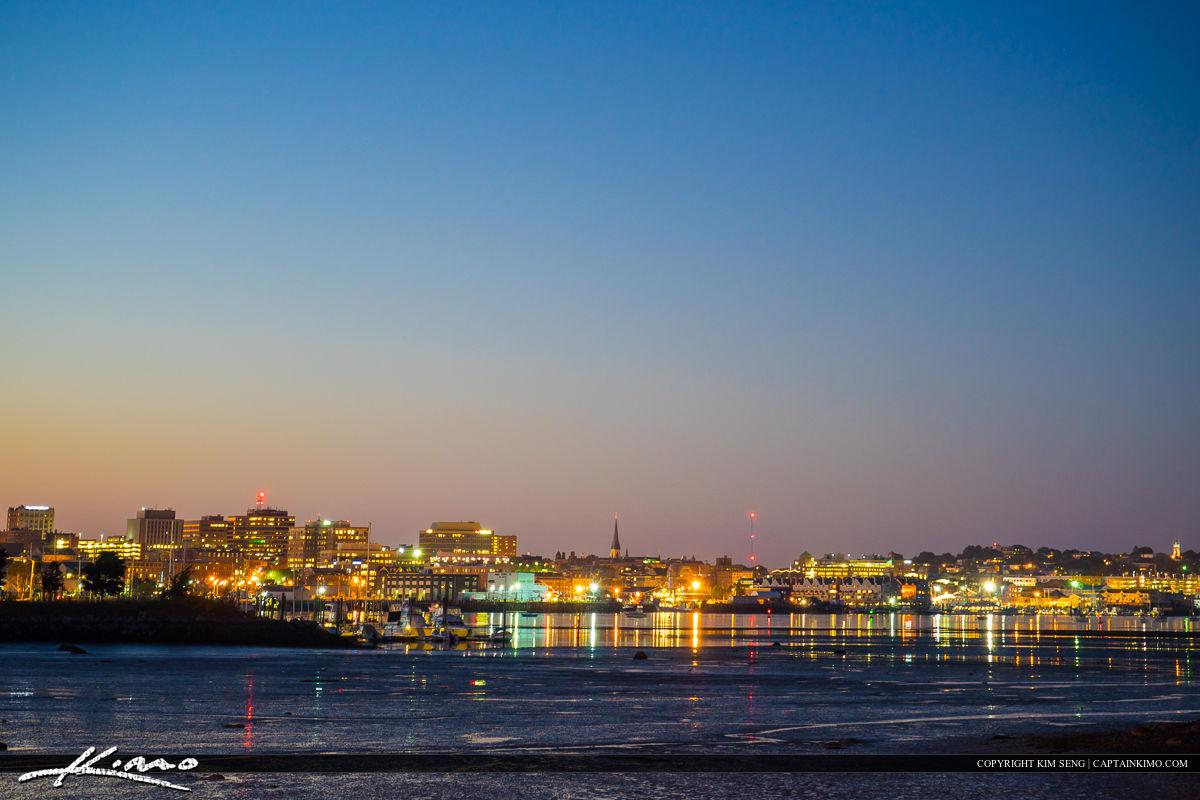 Portland Maine City Skyline Night Lights