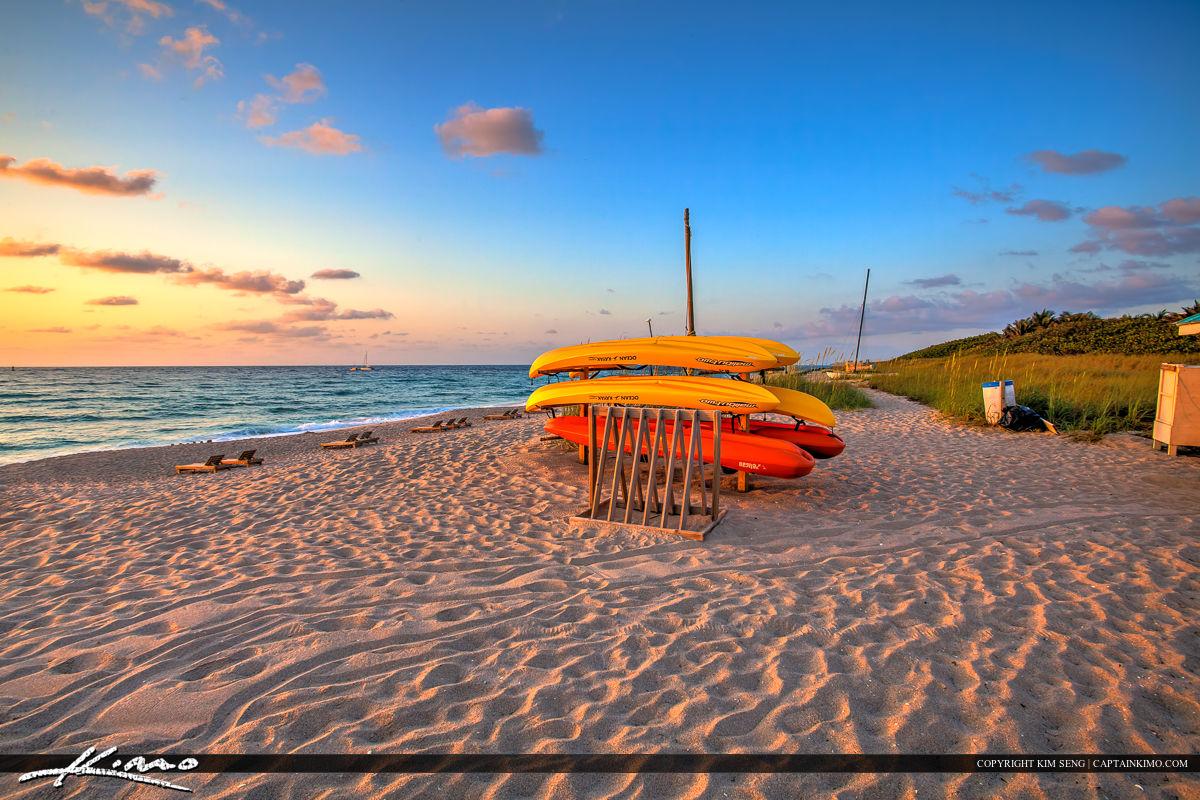 Kayak at Beach Sunrise Palm Beach County Florida