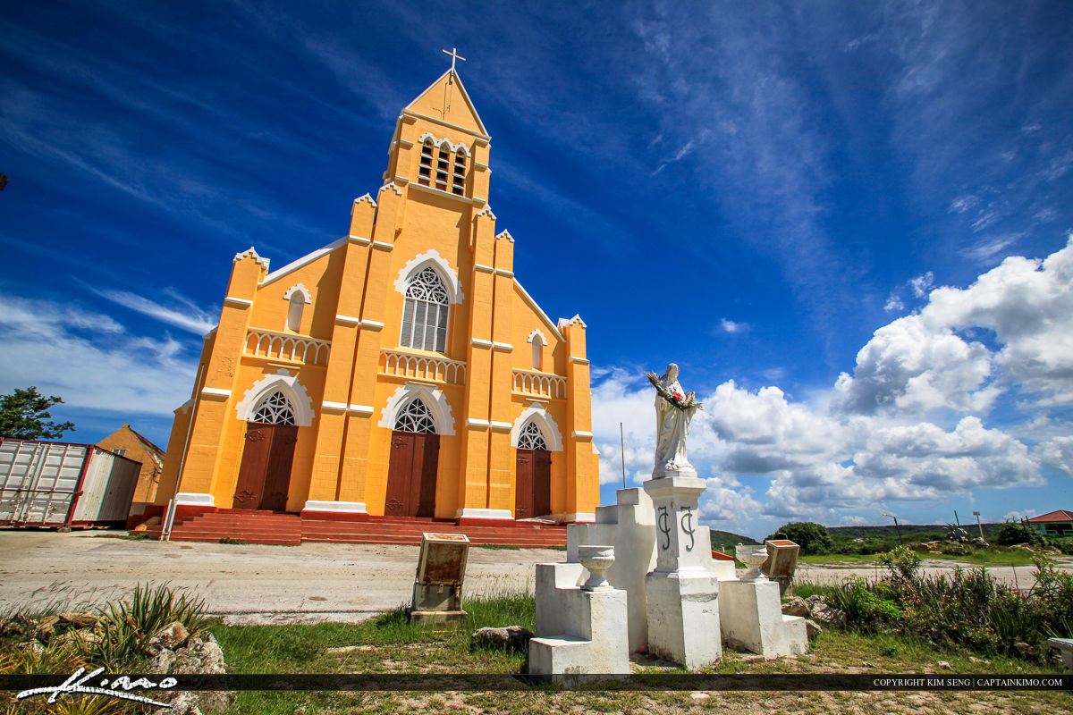 Curacao Travel Caribbean Islands Orange Church with Mary