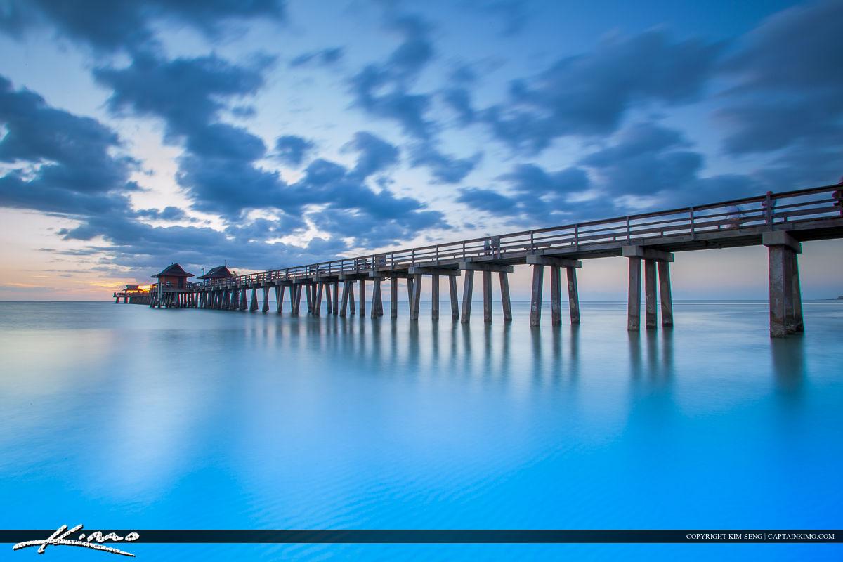 Naples Florida Sunset at Pier Smooth Blue Ocean