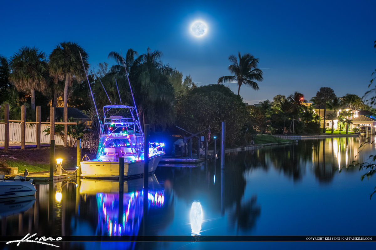 Moon Rise Over Waterfront Property at Home in Florida
