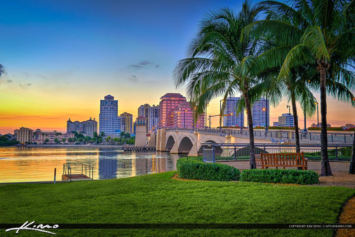 West Palm Beach Skyline Coconut Tree