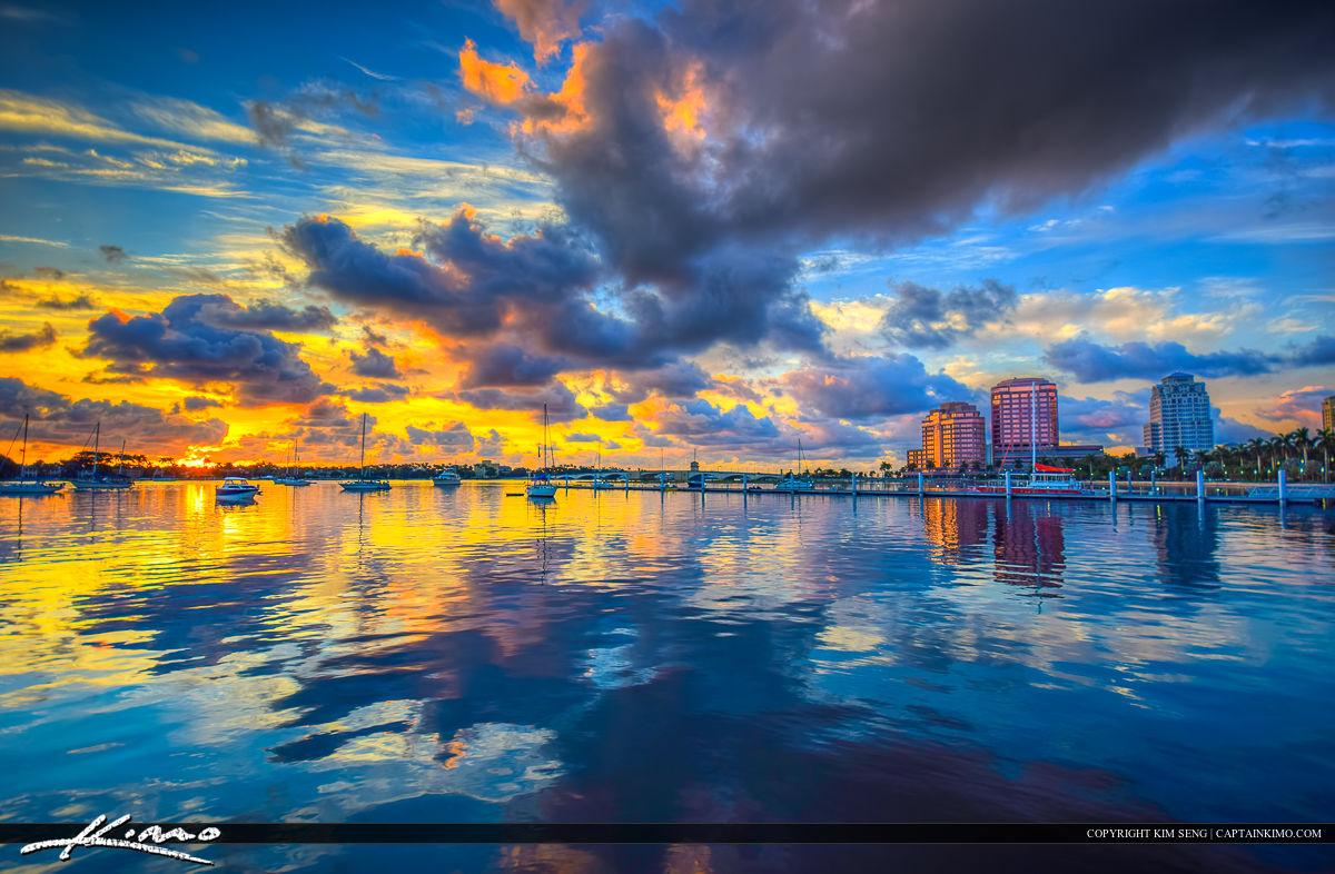 West Palm Beach City Sunrise Over Waterway
