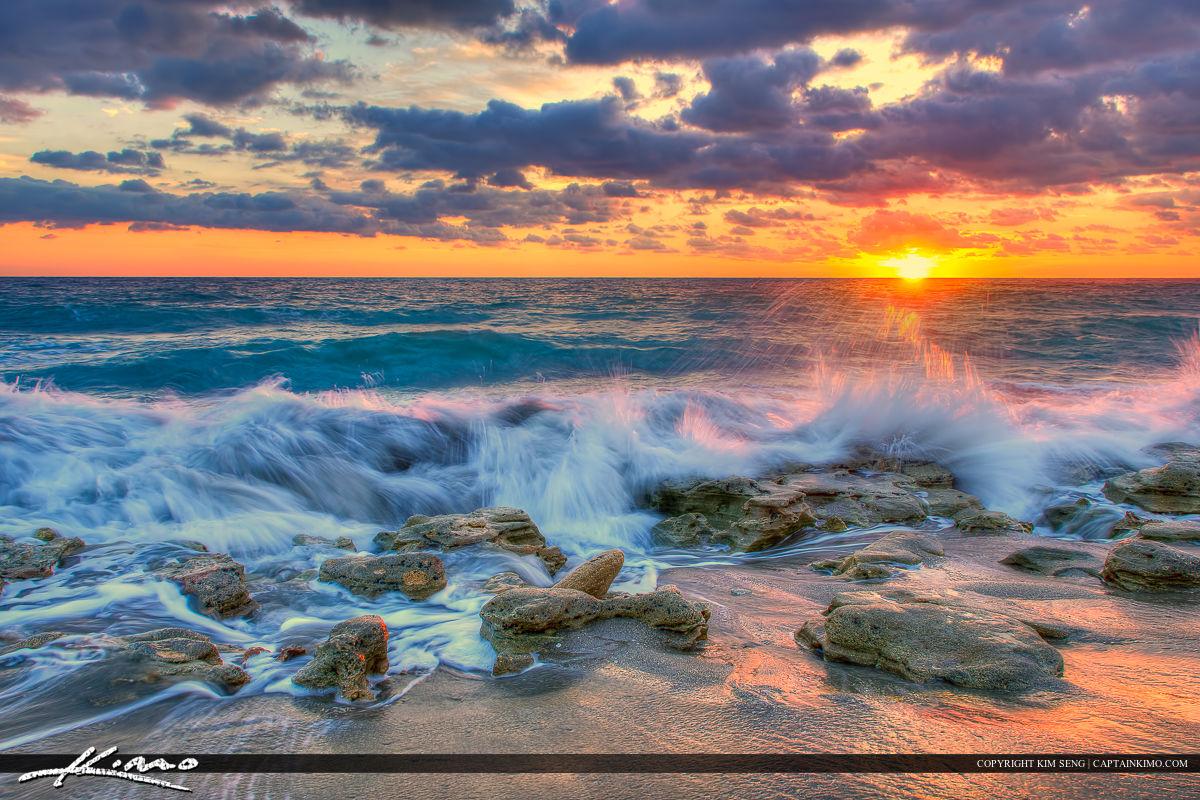 Wave Breaking on Rock at Carlin Park Jupiter Florida