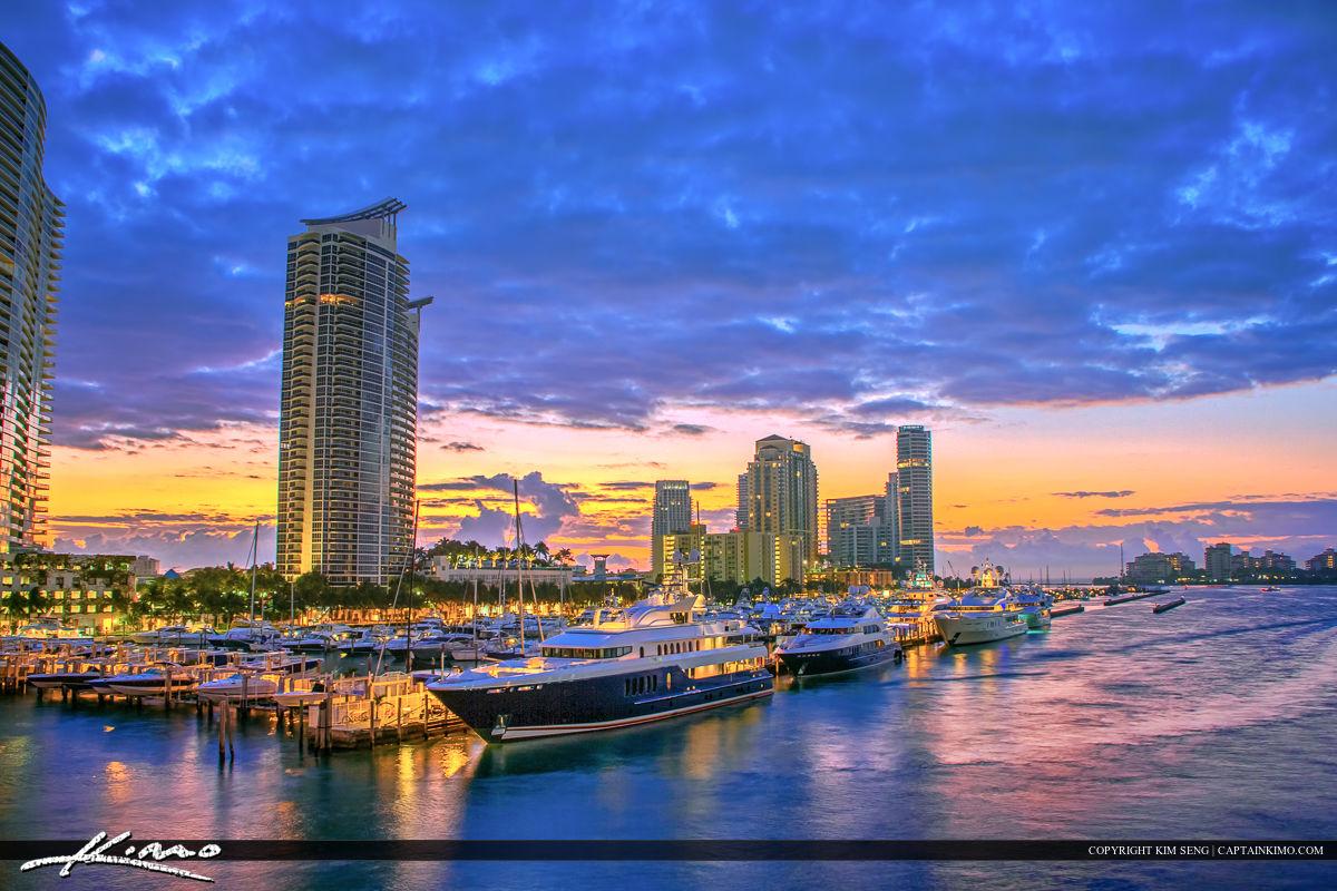 South Beach Miami Marina Along Waterway