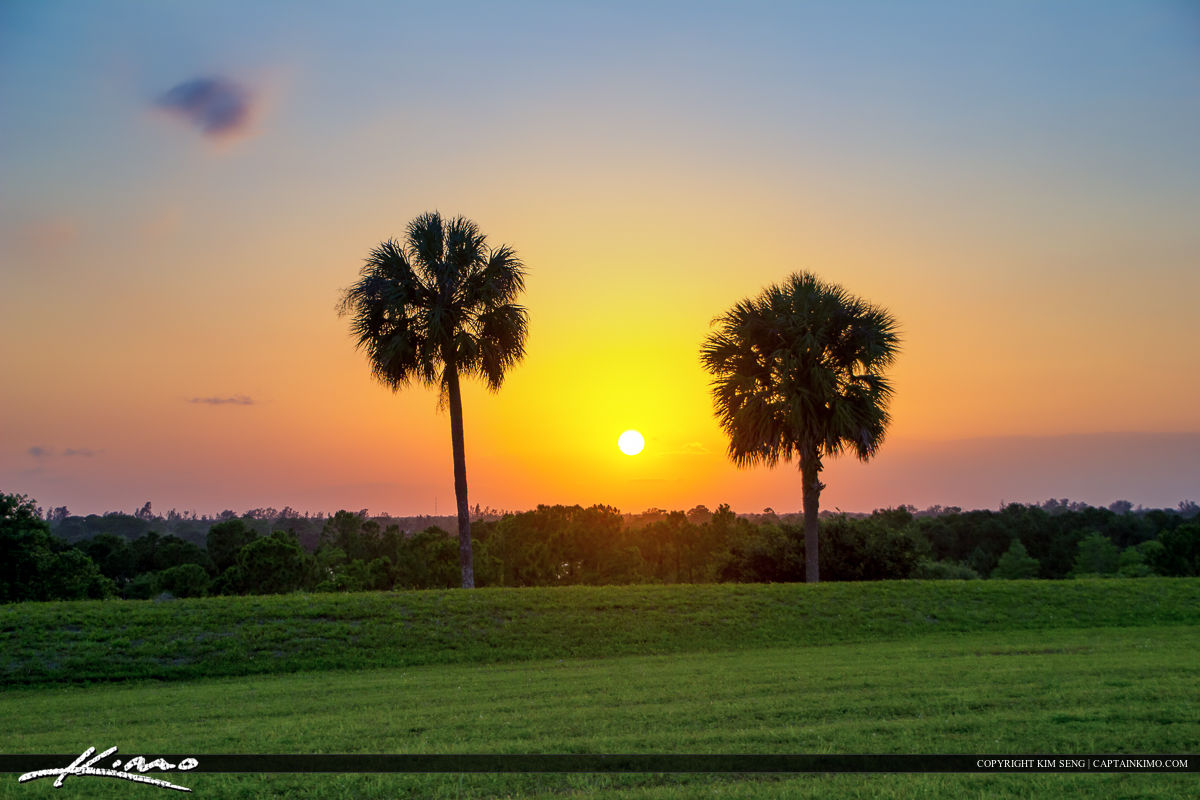 Dyer Park Sunset with Palm Trees Palm Beach County